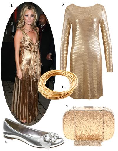 1. Кейт Мосс (Kate Moss); 2. платье Michael Michael Kors; 3. браслет Juvalia & You; 4. клатч Oasis; 5. балетки Next