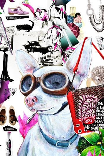 Собаки – определенного рода страсть Эльзы. Их можно найти почти в каждом коллаже.