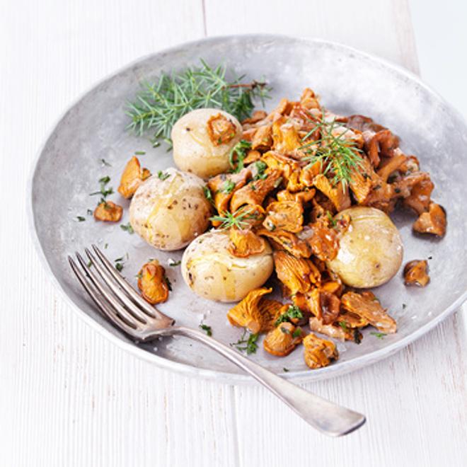 лисички, рецепты, жареные лисички с картошкой