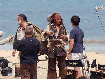 """Джонни Депп на съемках """"Пиратов Карибского моря"""""""