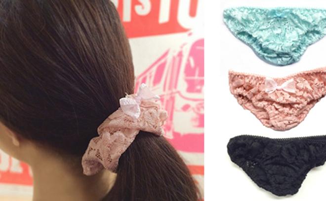 резинки для волос, кружевные трусики
