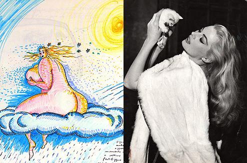 Рисунок Федерико Феллини «Сон от 1 апреля 1975» и фото Аниты Экберг со съемок фильма «Сладкая жизнь»