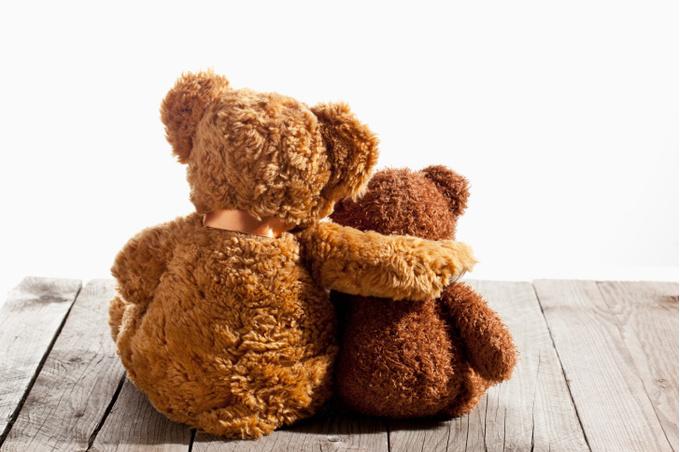 Объятия двух плюшевых медведей
