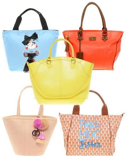 Розовая сумка Juicy Couture, голубая сумка Love Moschino, оранжевая сумка Paul's Boutique, сумка с принтом Paul & Joe Sister, желтая сумка Asos