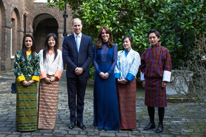 Кейт Миддлтон, принц Уильям и гости из Индии и Бутана
