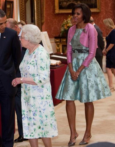 Мишель Обама (Michelle Obama), Барак Обама (Barack Obama) и Елизавета II