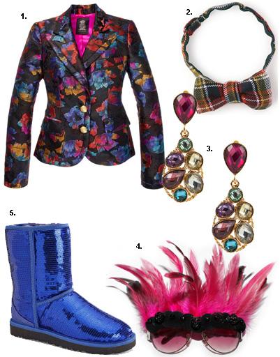 1. Жакет Juicy Couture; 2. бабочка Levi's; 3. серьги Kira Plastinina; 4. очки Lilia Fisher Design; 5. сапоги UGG® Australia