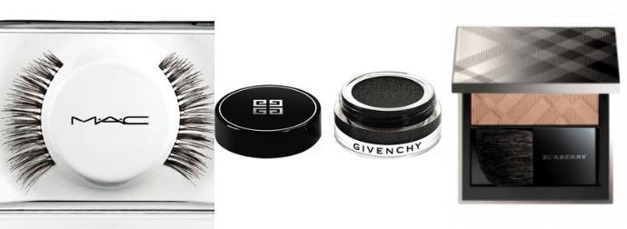 Накладные ресницы MAC, набор 36 Lash, тени Givenchy Ombre Couture, оттенок Noir Sequin, румяна Burberry Light Glow, оттенок Earthy