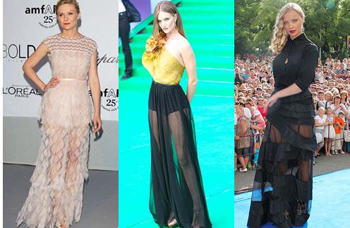 Прозрачные юбки Рози Хантингтон-Уайтли и Екатерины Вилковой покорили не один кинофестиваль.