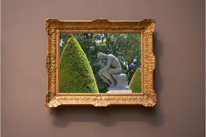 Картина с «Мыслителем» Родена