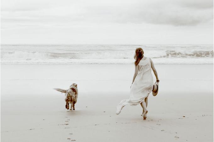 Собака с хозяйкой на пляже