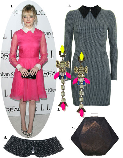 1. Эмма Стоун (Emma Stone); 2. платье Topshop; 2. серьги River Island; 4. клатч BGN; 5. воротничок Karl by Karl Lagerfeld