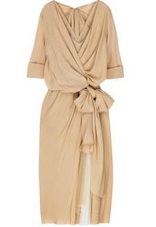 Струящееся платье Donna Karan с крупным бантом на талии.