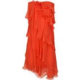 Яркое платье цвета красного апельсина.
