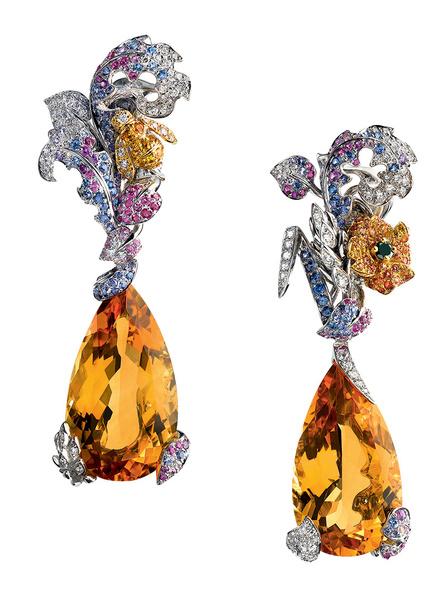 Серьги Incroyables et Merveilleuses Champêtre, бриллианты, рубины, сапфиры, цитрины, Dior, бутики Dior.