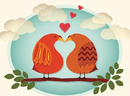Изображение двух влюбленных голубков