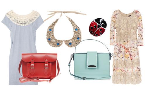 Платье A.P.C., сумка Cambridge Satchel Company, съемный воротничок Asos, брошь Sonia Rykel, сумка Jil Sander, платье Mulberry