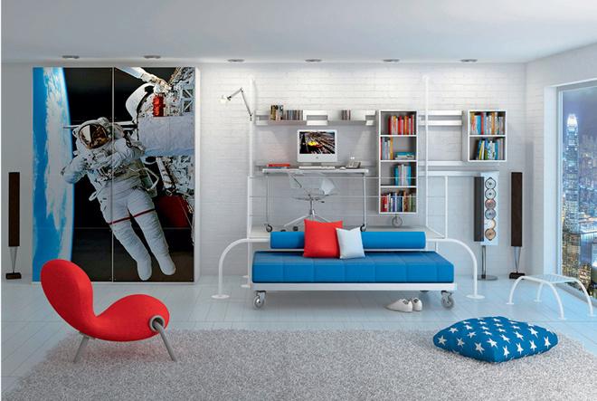 Хорошо, если детская мебель будет менять свое местоположение. Самый простой вариант – мобильная обстановка. Но есть идругие предложения, скажем, коллекция Rally (CIA International), в которой предметы обстановки соединяются посредством особых рельсов, а потому легко перемещаются по комнате