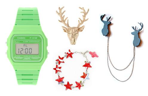 Часы Casio, кольцо в виде оленя Wild Fox, браслет Cruselita, брошь Stern