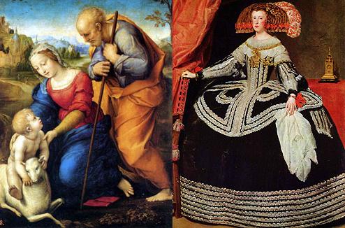 Святое семейство с ягненком Рафаэля Санти и Портрет королевы Марианны Австрийской Диего Родригеса де Сильва-и-Веласкеса
