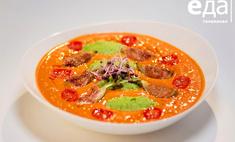 Гладкий суп с томатами черри и мятным горошком от телеканала «Еда»