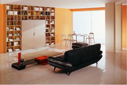 Мебель, собранная из элементов модельной программы, может включать даже небольшой шкаф. Модульная композиция NOVAcia от Nova