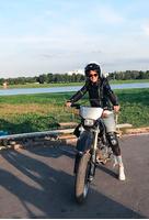 Любовь Аксенова на мотоцикле