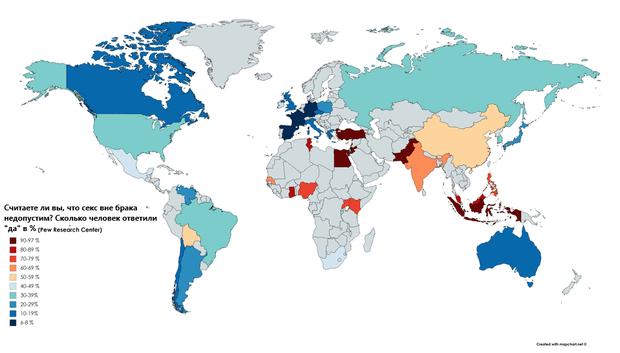 Фото №2 - Карта: как жители разных стран относятся к сексу вне брака?