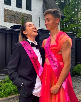 Фото №3 - Парень в платье, девушка в костюме: Володя XXL и Чана показали, как стать самой яркой парой выпускного