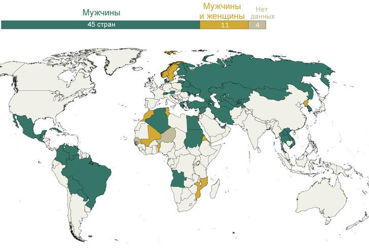 Фото №1 - Карта: В каких странах военному призыву подлежат только мужчины, а в каких— еще и женщины