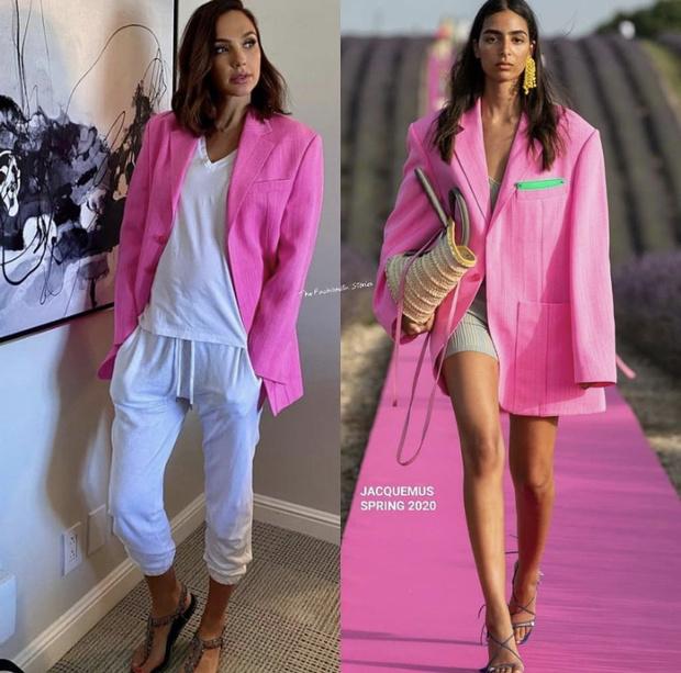 Фото №3 - Чудо-пиджак для Чудо-женщины: Галь Гадот в розовом Jacquemus