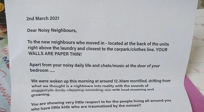 «Стены вашей спальни тонкие как бумага»: пара получила письмо с руганью