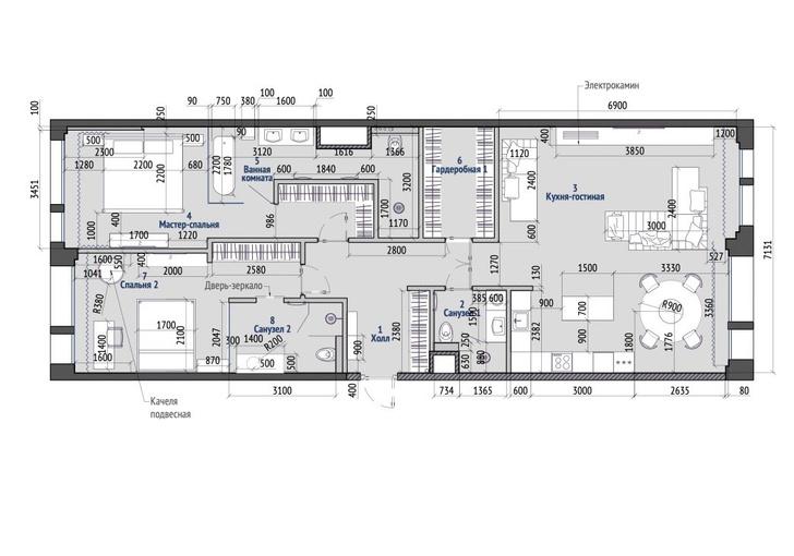 Фото №14 - Минималистская квартира 132 м² с ванной за стеклом