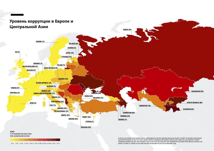 Фото №2 - Карта: уровень взяток в Европе и бывшем СССР