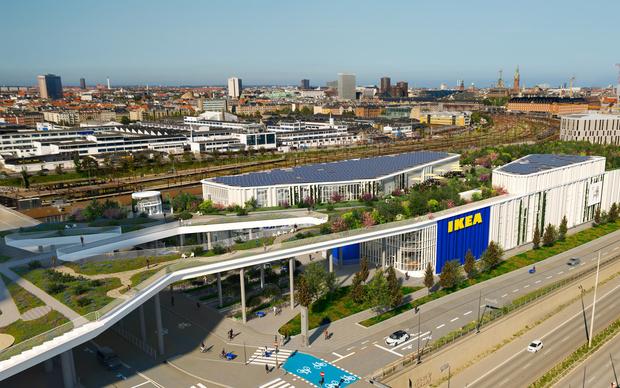 Фото №1 - Магазин ИКЕА с зеленой крышей в Копенгагене