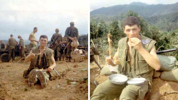 Капрал морской пехоты США Раффаэле Миникиелло на биваке в Вьетнаме