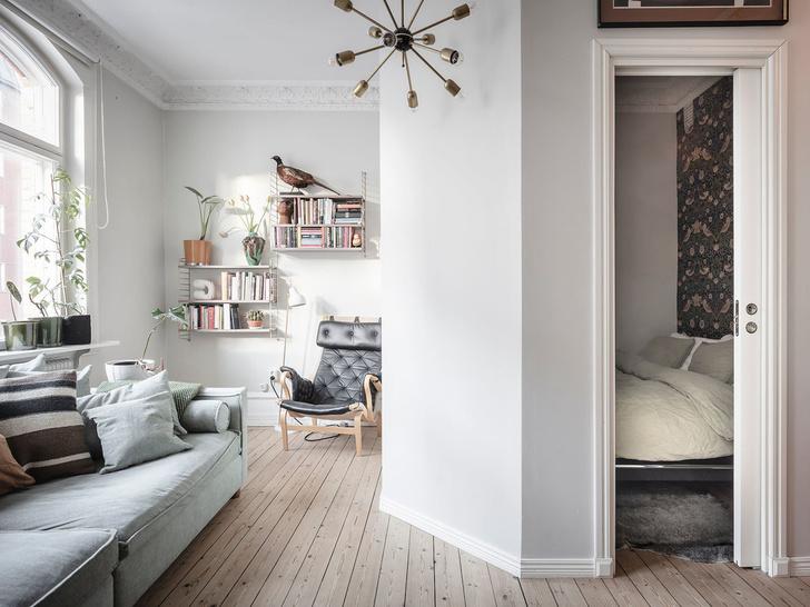 Фото №3 - Уютная скандинавская квартира с микро-спальней в Гетеборге