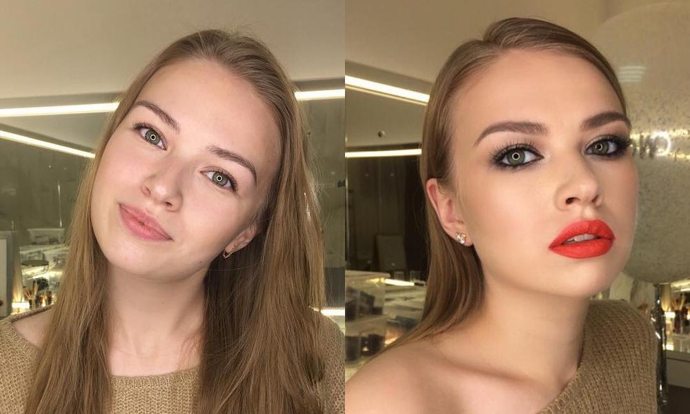 Новогодний макияж: фото до и после