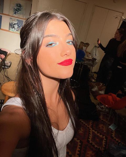 Фото №2 - Красная помада и сияющие тени: трендовый осенний макияж от Чарли Дамелио