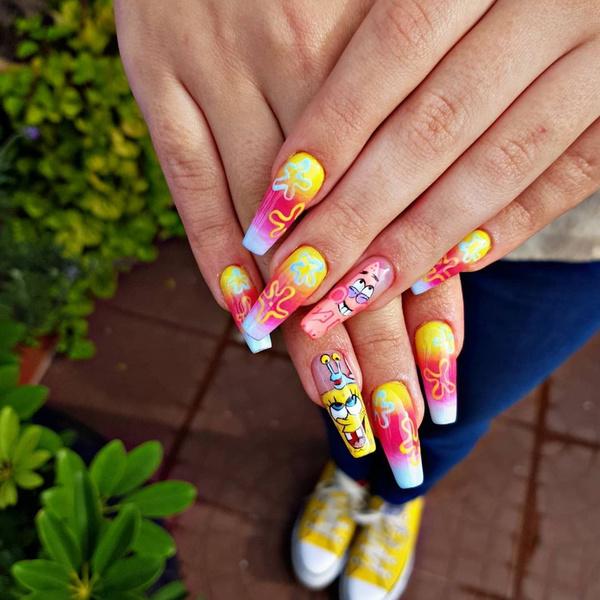 Фото №7 - Неоновый маникюр: 8 самых крутых дизайнов для длинных ногтей