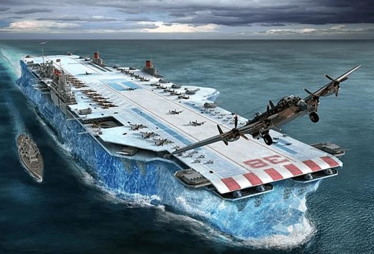 Фото №1 - Ледовое чудовище. История британского авианосца из воды и палок