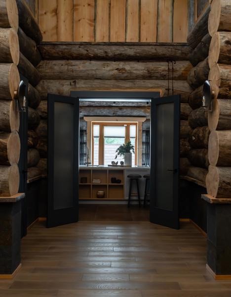 Фото №7 - Деревянная баня с высокотехнологичным дизайном в Подмосковье