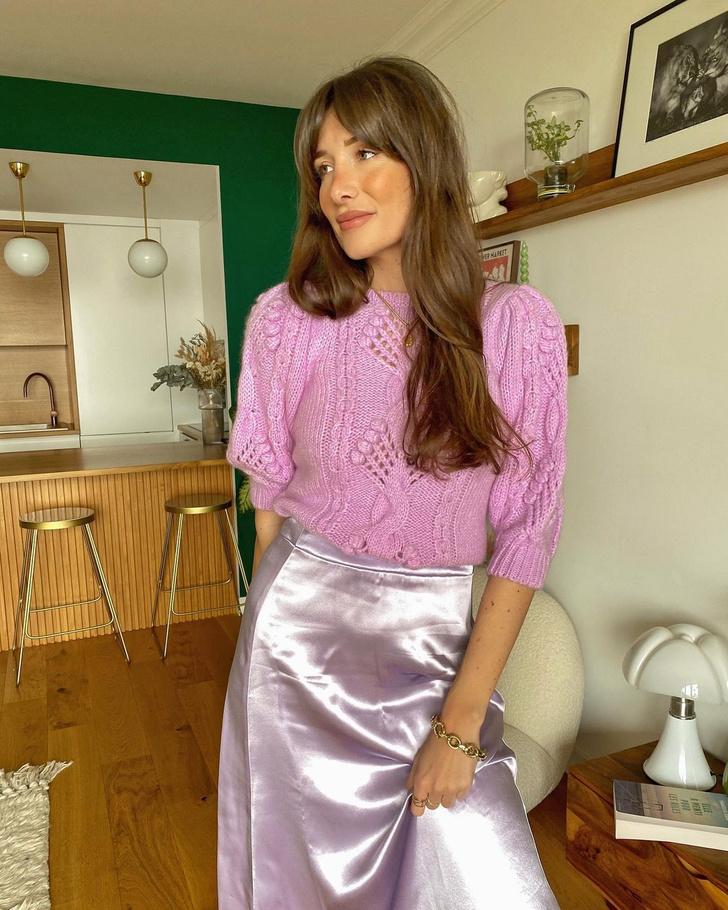 Фото №1 - Идея образа для свидания в День святого Валентина: француженка Жюли Феррери в розовом тотал-луке