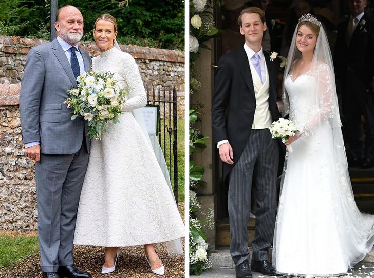 Фото №1 - Две королевские свадьбы сразу: крестница Чарльза и племянница Елизаветы вышли замуж в один день (и их платья точно войдут в историю)