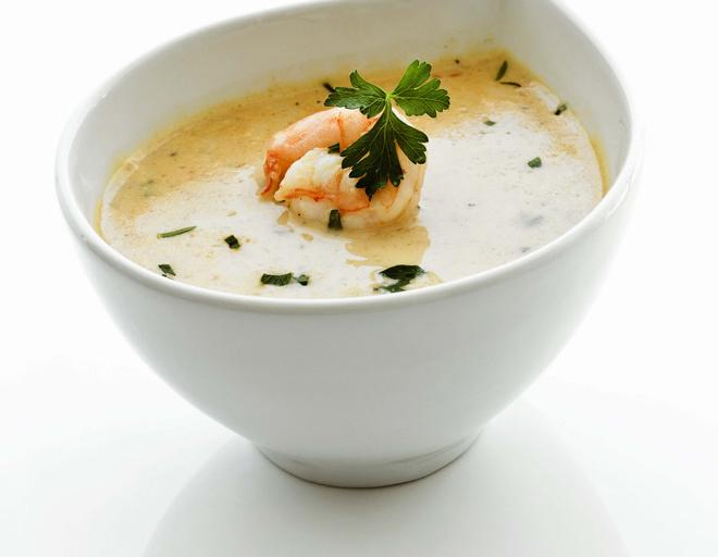 суп с креветками и сливками