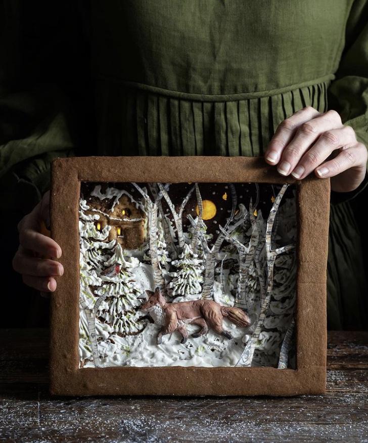 Фото №1 - Фуд-тренд: съедобные рождественские открытки из имбирно-орехового теста