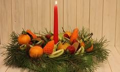 Рождественский венок из фруктов: видео мастер-класс