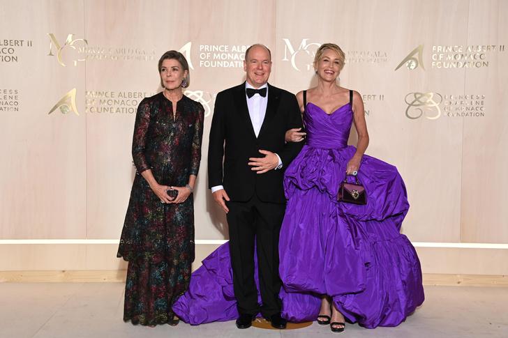 Фото №2 - Настоящая королева: Шэрон Стоун в необычном платье-одеялке очаровала князя Монако