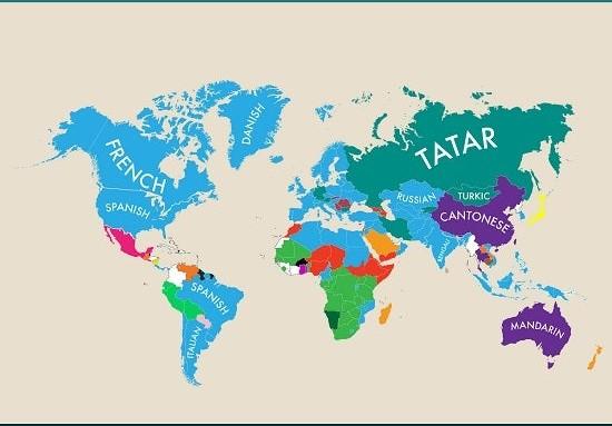 Фото №6 - Карта: второй по популярности язык в разных странах мира