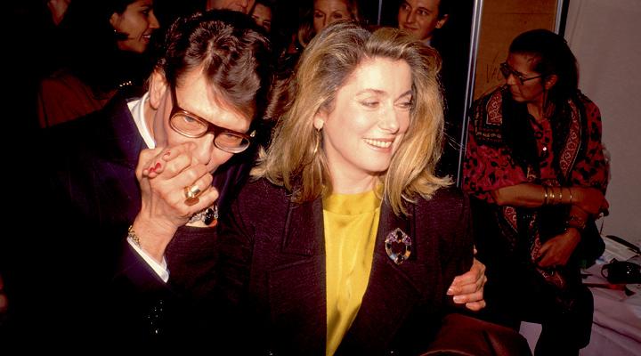 Ив Сен Лоран со своей близкой подругой, легендарной актрисой Катрин Денев